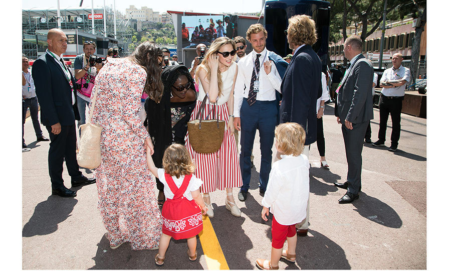 New parents Pierre Casiraghi and Beatrice Borromeo, centre, said hello to their niece and nephew India, two, and Alexandre, four, at the F1 race in Monaco.