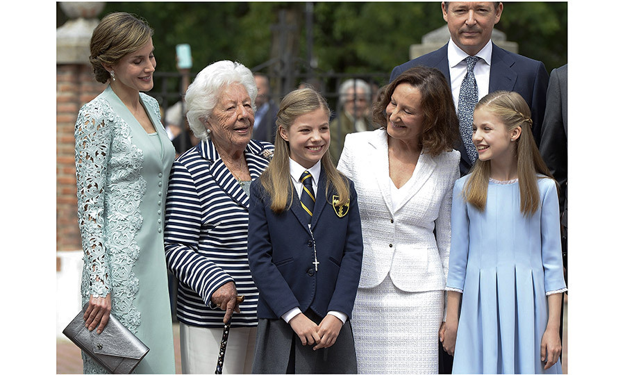 For her First Communion, Princess Sofia's grandparents King Juan Carlos and Queen Sofia were on hand, but in addition to the royals, the young princess, centre, had the support of mom Queen Letizia's family, too. Onetime news anchor Letizia's grandmother Menchu Álvarez del Valle (second from left), a former radio host, was in attendance, as was the queen's mom Paloma Rocasolano (second from right).