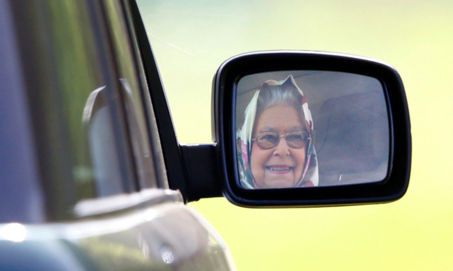 On the move! The Queen took the wheel of her Range Rover after Royal Windsor Horse Show.