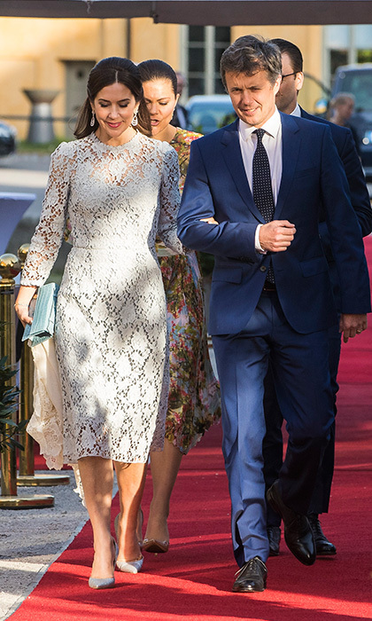 Crown Princess Mary of Denmark, with husband Crown Prince Frederik, was on trend in lace on the first day of the Danish royals' visit to Sweden.