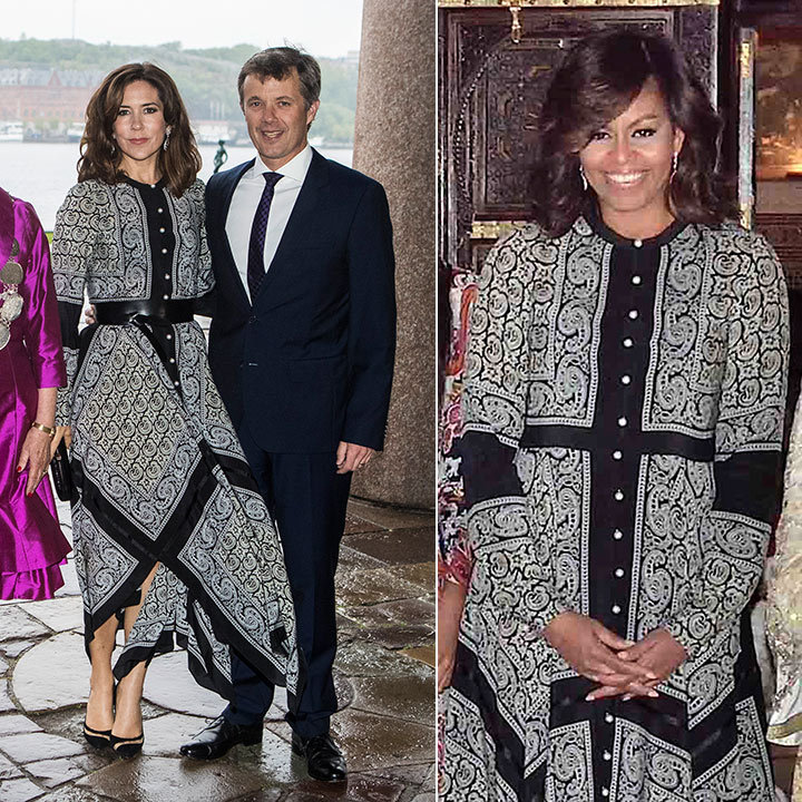 Crown Princess Mary took a page out of Michelle Obama's fashion book for her visit to Stockholm on May 30, 2017. The Danish royal and former first lady, who wore the dress during her visit to Morocco in 2016, both chose to leave their hair down and wavy to complement their flowy Altuzarra Winnie dress. 