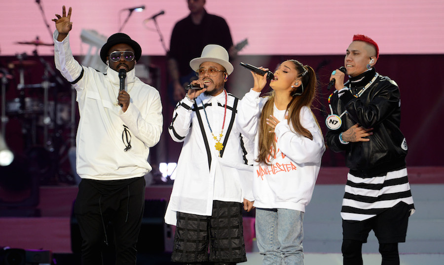 "Following Little Mix's performance, Ariana returned to the stage with Victoria Monet to sing ""Better Days,"" then introduced the Black Eyed Peas, who she joined for a duet of ""Where is the Love?"" 
