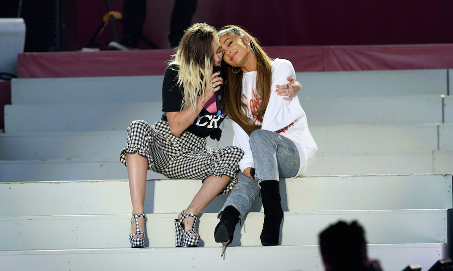 "Ariana was joined by Miley Cyrus for a duet of ""Don't Dream It's Over,"" with the pair sharing several embraces while they performed together. Following the song Ariana got emotional as she told the crowd that during her visit to those affected by the attack she had met with the mother of Olivia Campbell-Hardy who was killed in the explosion, and the meeting had caused her to entirely change the show. The singer explained that Charlotte had told her that Olivia would have wanted to hear Ariana's hits, leading her to incorporate some of her popular singles such as ""Side to Side"" and ""Break Free"" into the set.