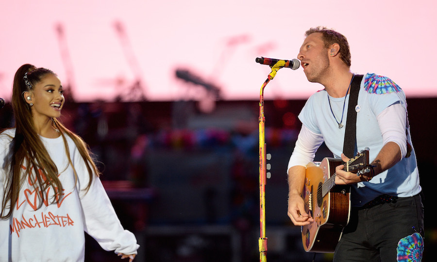"The ""Dangerous Woman"" singer teamed up with Chris Martin to sing the Oasis hit ""Don't Look Back In Anger"" before Coldplay treated fans to performances of ""Viva la Vida,"" ""Fix You"" and ""Something Just Like This.""