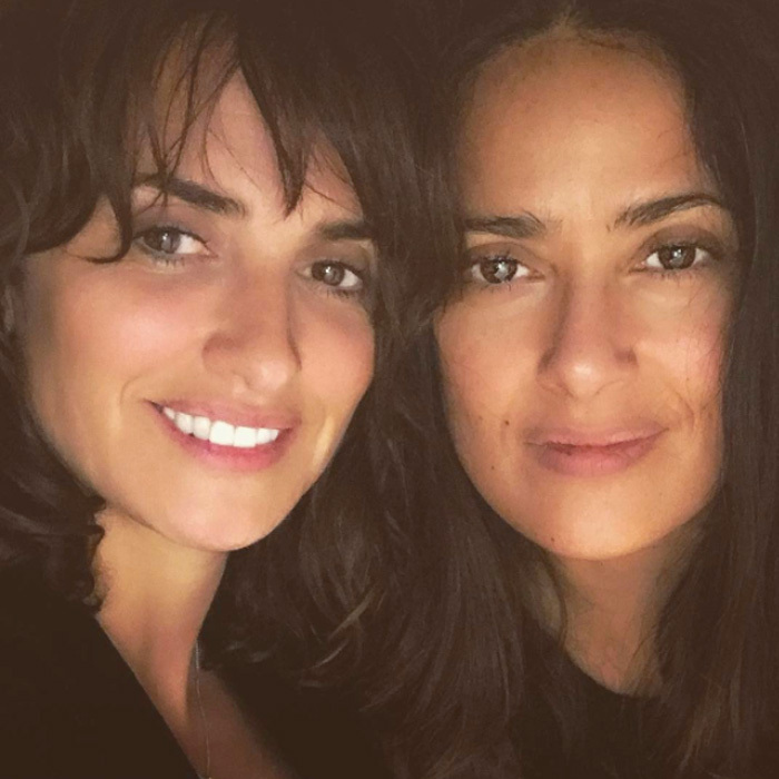 Penelope Cruz and Salma Hayek are fresh-faced twins. 