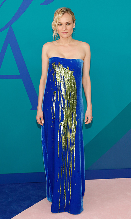 Diane Kruger looked cool in blue velvet Monse.