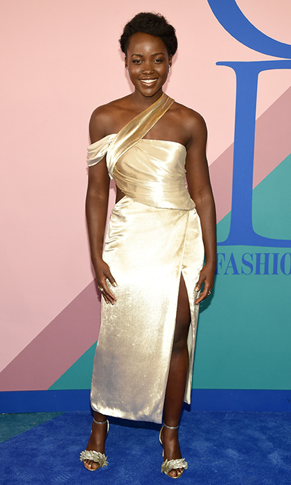 Lupita Nyong'o in golden Jason Wu.