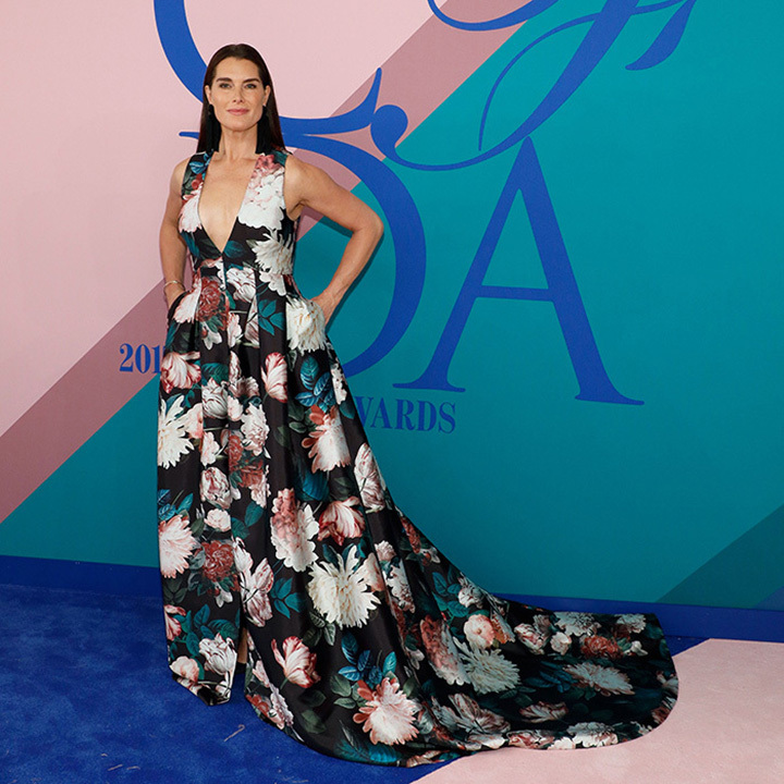 Brooke Shields wore a floral creation by Sachin & Babi.