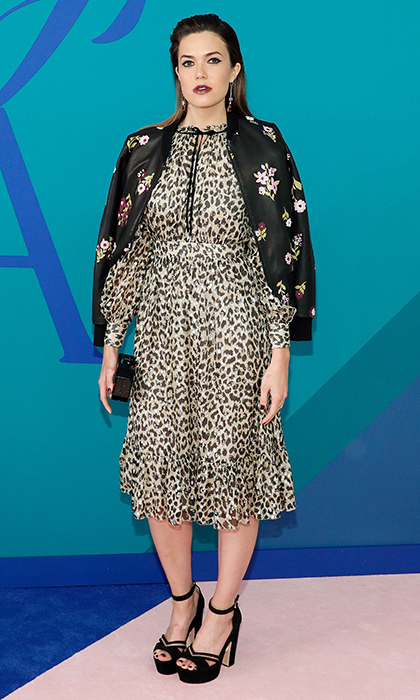 Mandy Moore in leopard print and florals by Kate Spade. 