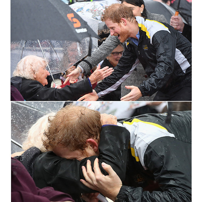 Not even the rain could put a damper on this sweet embrace between Prince Harry and 97-year-old Daphne Dunne during the royal's June 2017 visit to Australia. Harry had met widow Ms Dunne once before in 2015, and looked thrilled to be reunited with her in Sydney.