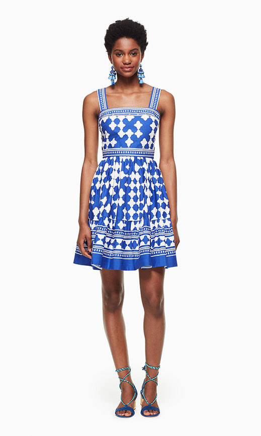 The white and blue 'Lantern' dress from Kate Spade New York