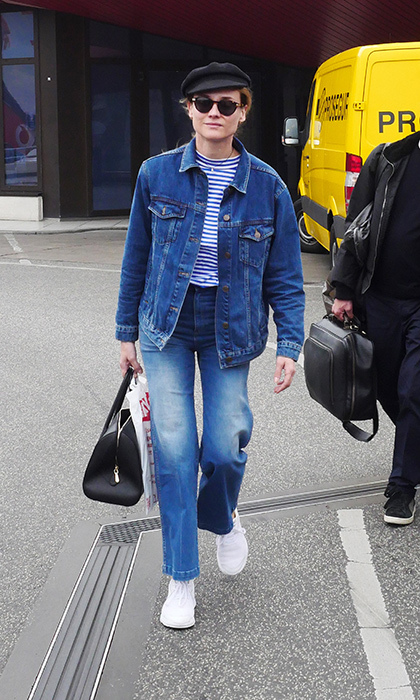 Street style queen Diane Kruger embraces the French Canadian tuxedo—Parisian chic meets stylish Calgary stampeder.  