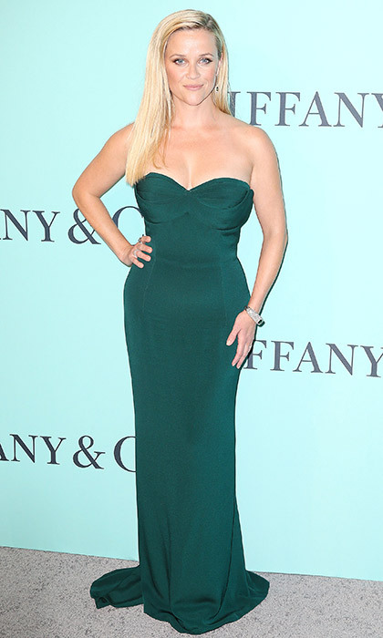 This elegant, figure-hugging emerald dress by Brandon Maxwell flatters Reese Witherspoon's petite frame.