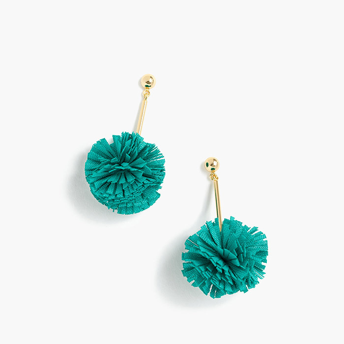 <p><strong>Gathered Carnation Earrings in Neon Seamist</strong>, $33, <em>jcrew.com</em></p>