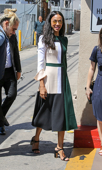 The graphic, pop art-inspired print of this Prabal Gurung midi dress gives Zoe Saldana a fresh mod air.