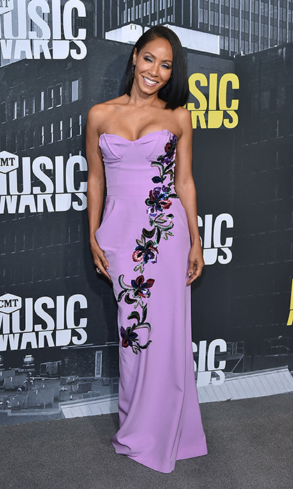 June 7: Actress Jada Pinkett Smith wore an embroidered lavender gown to the 2017 CMT Music Awards.
