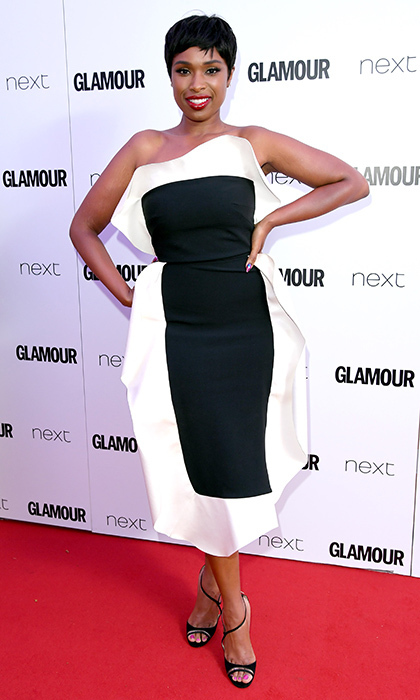 Jennifer Hudson looked chic in this architectural style on the Glamour Women of the Year Awards 2017 red carpet.