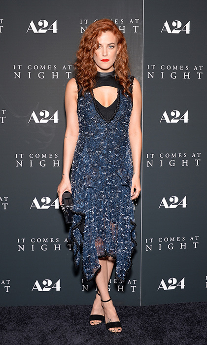 Riley Keough wore a blue embroidered dress with a keyhole neckline to the <em>It Comes At Night</em> New York premiere at Metrograph in New York City.