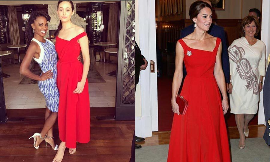 Mandy Moore isn't the only Hollywood star to fall in love with the Preen number. Emmy Rossum wore the beautiful red gown at her bridal shower last year, shortly before the Duchess of Cambridge took a turn in it in Victoria.