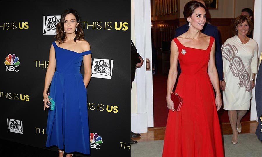 At the FYC event in New York on June 7, Mandy Moore owned the red carpet in a royal blue version of the A-line Preen dress that Kate wore during her visit to Canada last year.