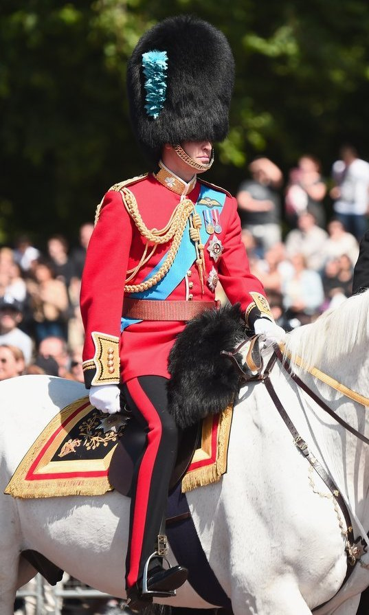 "Even princes need to practice! On June 10, Prince William made his debut in the military rehearsal for Queen Elizabeth's birthday parade, also known as ""Trooping the Colour"", which will take place on June 17. The Duke of Cambridge wore full uniform riding a white horse named Wellesley outside of the Buckingham Palace gates. 