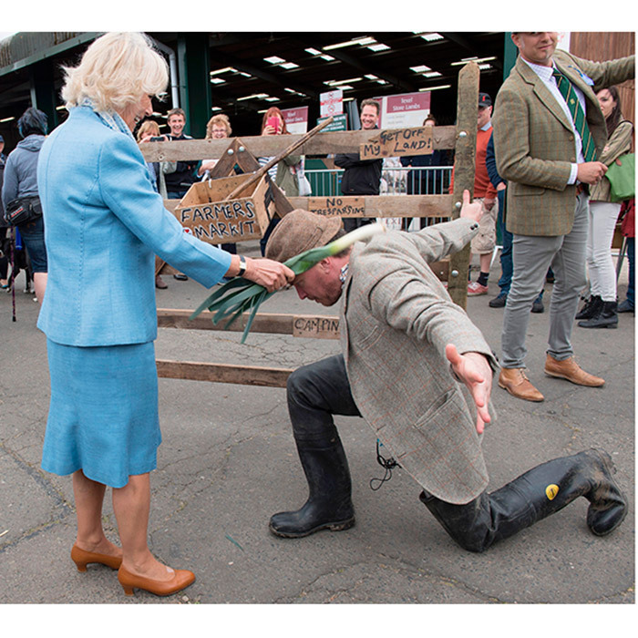 Camilla, Duchess of Cornwall, jokingly knighted actor Callum Arnott with a leek as she visited the 50th South of England Show.