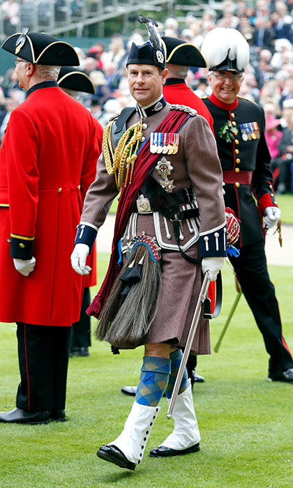 Queen Elizabeth's son Prince Edward, Earl of Wessex wore the uniform of the London Scottish Regiment as he reviewed the Chelsea Pensioners during the annual Founder's Day Parade at the Royal Hospital Chelsea on June 8 in London