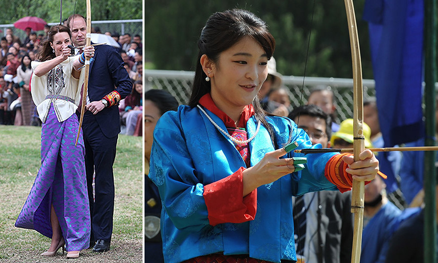 Just over a year after Duchess Kate tried her hand at archery in Bhutan, Princess Mako of Japan had her own Katniss Everdeen moment, picking up a bow and arrow at the Changlimithang National Archery Ground in Thimphu on June 3. Kate visited the same venue with husband Prince William in April 2016, left