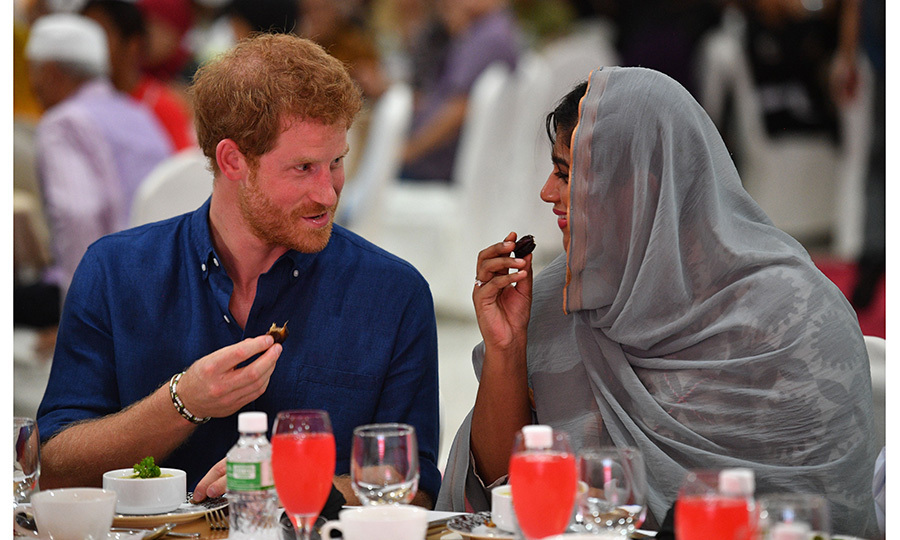 On June 4, after arriving in Singapore for his first-ever visit, Prince Harry ate dates and porridge as he joined members of the local Muslim community at charity organization Jamaya Singapore, which offers a range of services from assisting recovering addicts to providing homes for young people. 
