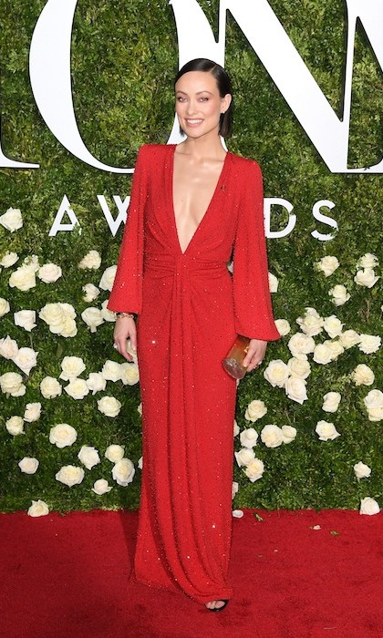 Joining the fashion parade at the Tonys was Olivia Wilde in vibrant red Michael Kors Collection. 