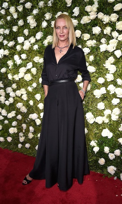 Uma Thurman stepped out at the Tonys in a long-sleeve black dress with Fred Leighton jewels.