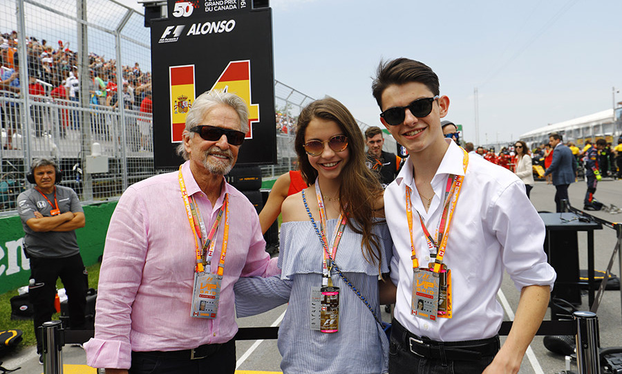 <p>Michael Douglas and children Carys and Dylan attend Canadian Grand Prix in Montreal.</p>