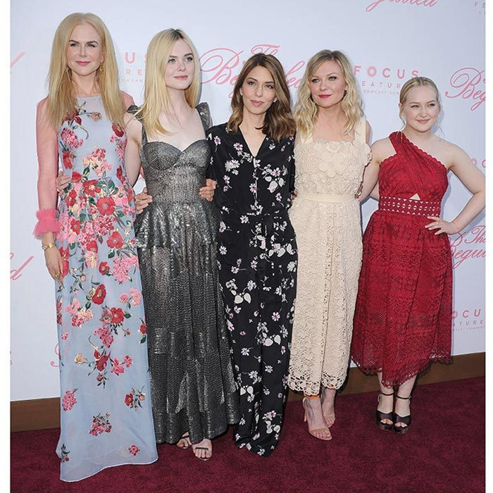 A seriously stylish lineup at the US premiere of The Beguiled in Los Angeles: Left to right, Nicole Kidman, Elle Fanning in Naeem Khan, Sofia Coppola, Kirsten Dunst wearing Chloé and Emma Howard.