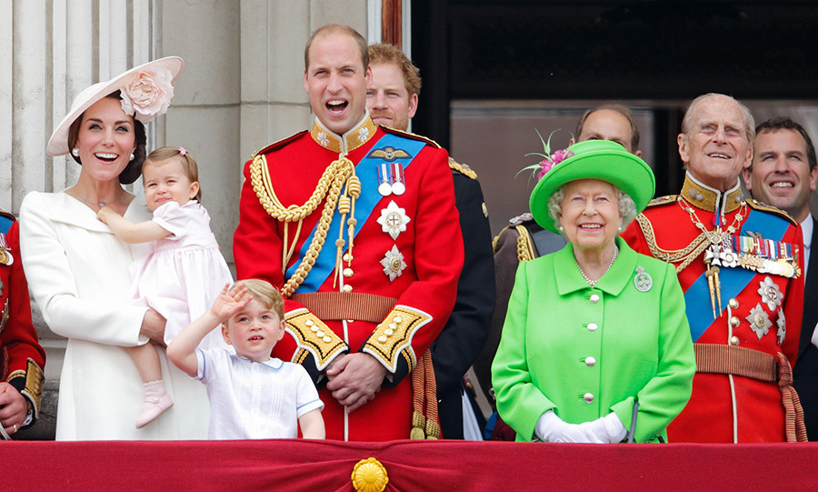 The royal family join the Queen at Trooping the Colour in 2016.