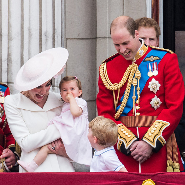 An excited Kate attends Trooping the Colour in 2016 with George, Charlotte and William. 