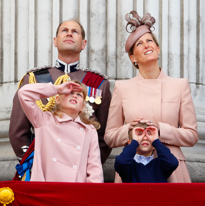 Prince Edward, the Countess of Wessex, Lady Louise Windsor and James, Viscount Severn stand on the balcony of Buckingham Palace during the annual Trooping the Colour Ceremony in 2013.