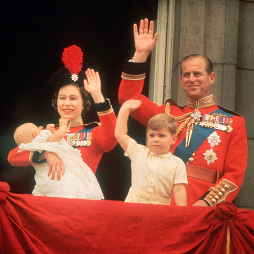 Prince Edward as a baby attends Trooping the Colour.