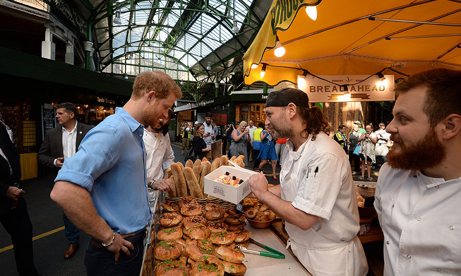 Prince Harry spoke to trader Matt Jones from Bread Ahead, whose staff helped fight off the terrorists on the night of the attack.
