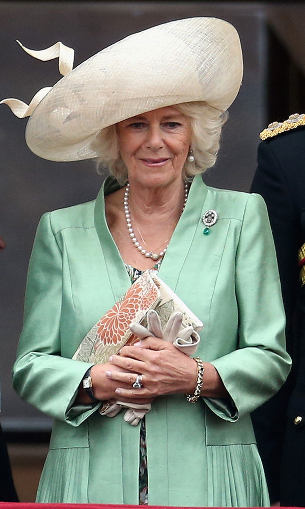 <p>In 2015, Camilla looked sensational in a silk mint green jacket with oversized pockets and a statement cream hat as she stood on the balcony at the annual celebration. To accessorise, she wore an assortment of silver bracelets, rings and a pearl necklace, and held onto an embellished clutch.</p>