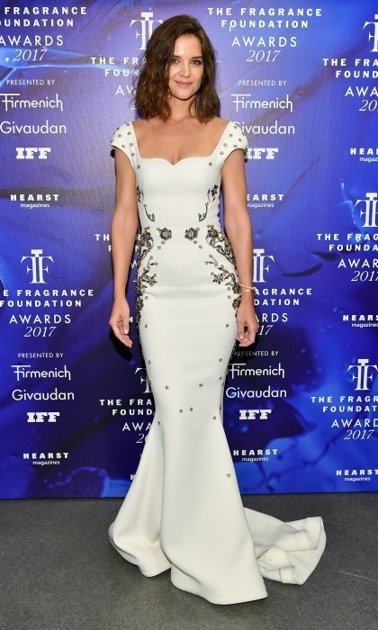Katie Holmes was a vision in white donning a mermaid gown by Zac Posen for the 2017 Fragrance Foundation Awards presented by Hearst Magazines in New York City.