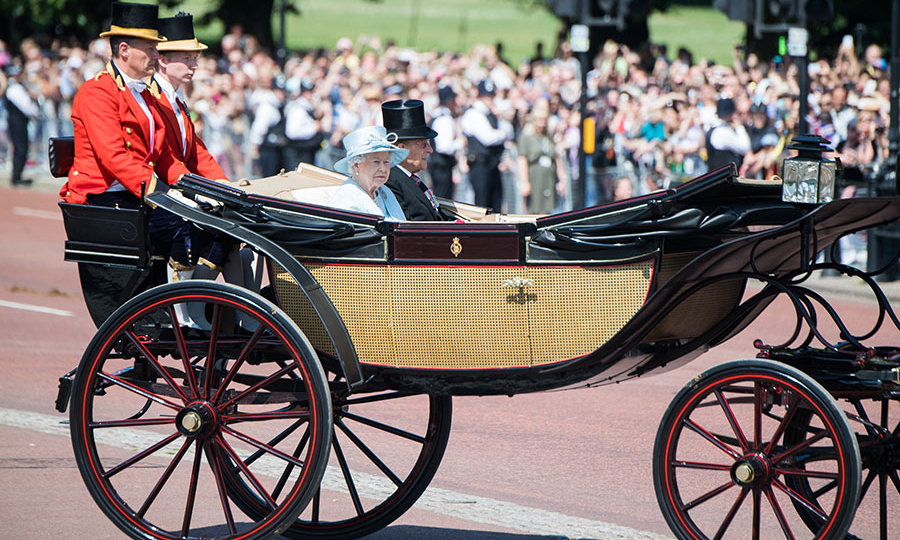 The Queen with Prince Phillip at the Trooping the Colour parade on Saturday. A minute's silence was held by the Queen at the start of the parade to remember the victims of the Grenfell Tower fire in West London, along with those killed in the recent UK terror attacks in London and Manchester.