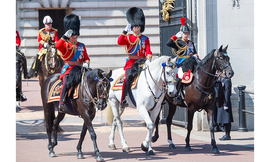 Prince Charles, Prince William and Princess Anne take part in the Trooping the Colour parade on horseback to celebrate the Queen's official birthday. All eyes were on the Duke of Cambridge riding in the annual parade, which has been running for 250 years. In 2011, William became Colonel of the Irish Guards and he certainly looked to be enjoying his role in the event on Saturday.
