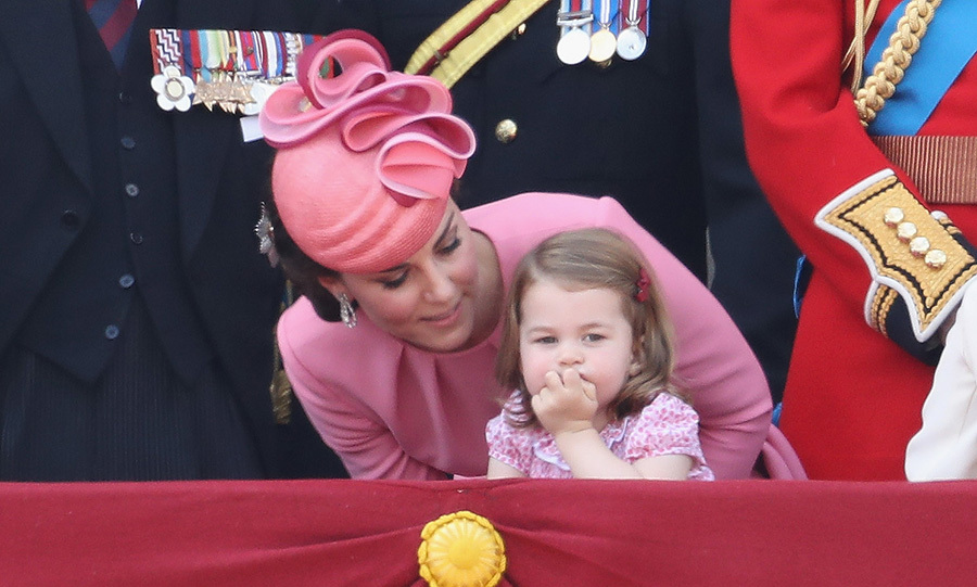 Little Princess Charlotte looked deep in thought as she watched Trooping the Colour with her mum the Duchess of Cambridge. Charlotte was dressed in sweet pink, floral summer dress for the occasion.