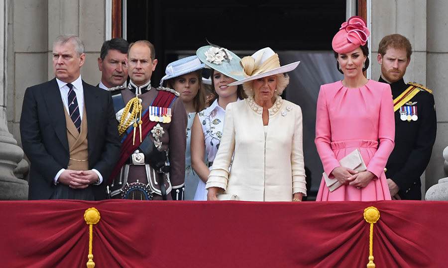The royal family on the balcomy at Buckingham Palace. The Duchess of Cambridge stands alongside the Duchess of Cornwall, Prince Harry, Prince Andrew and Prince Edward. Princess Eugenie and Beatrice join them too. 