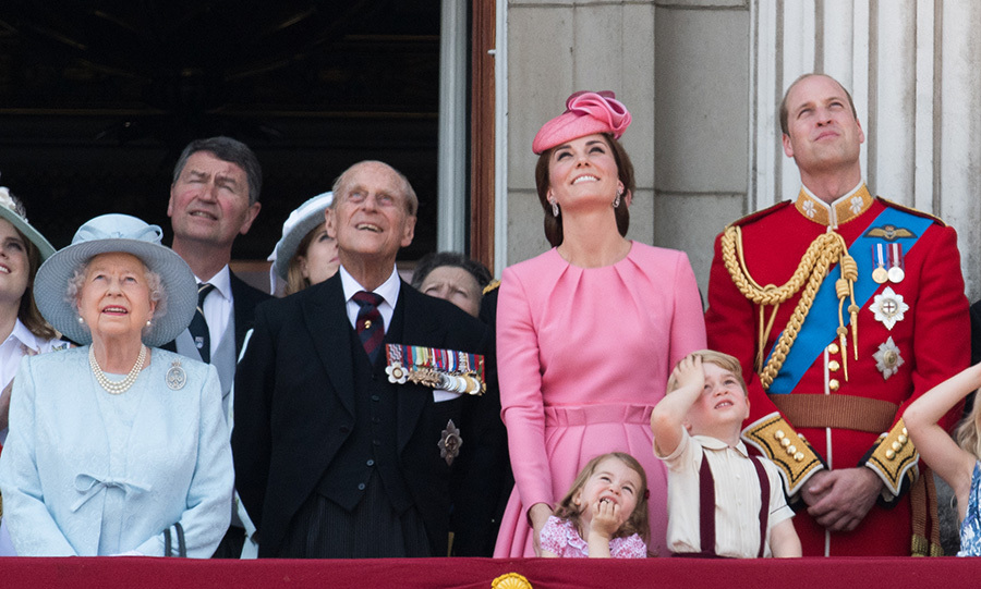 The royal family watch the RAF flypast show to celebrate the Queen's birthday at the annual Trooping the Colour event at Buckingham Palace.