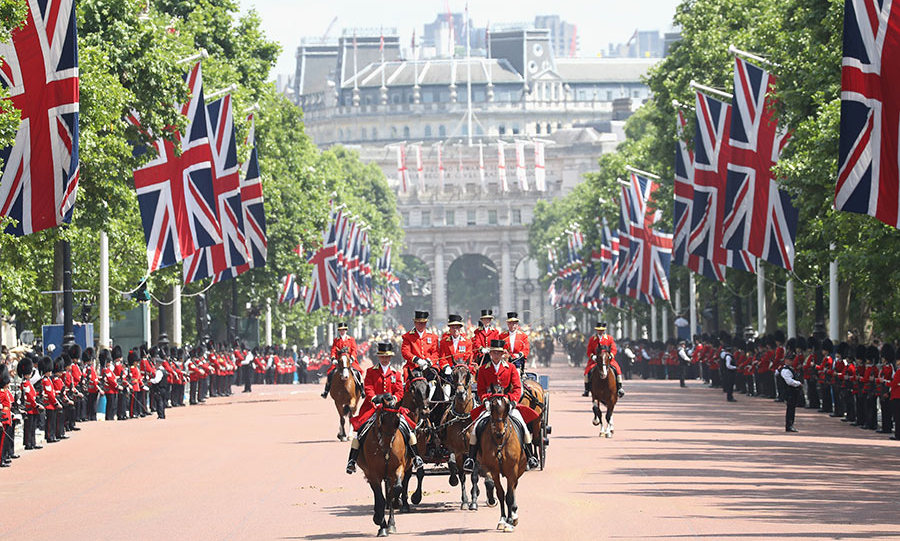 The Queen's troops form the parade down the Mall as soldiers line the roadside, on a wonderful sunny day in London. Trooping the Colour has been a highlight in the royal calendar for decades, when members of the public and the royal family come together to celebrate the Queen's official birthday in June. 