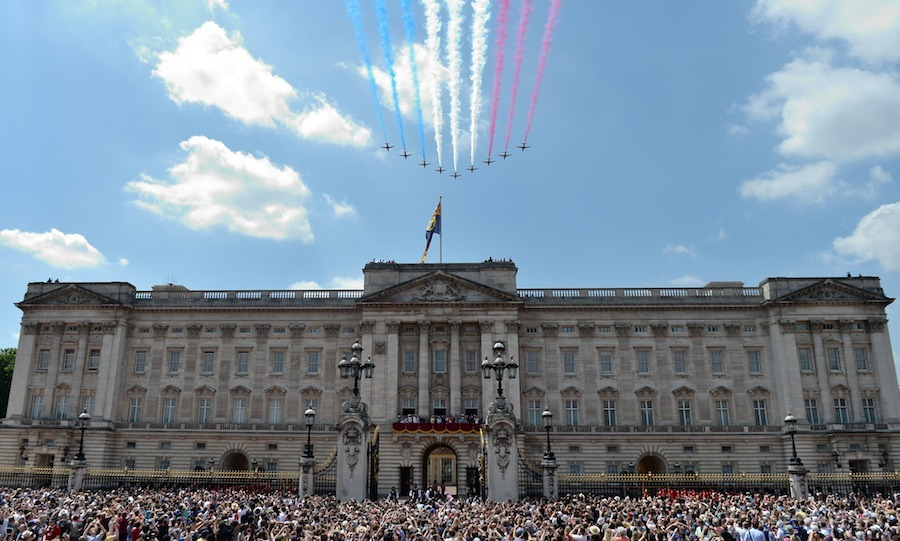 The crowning moment of the ceremonial celebration is the RAF flypast over Buckingham Palace. 