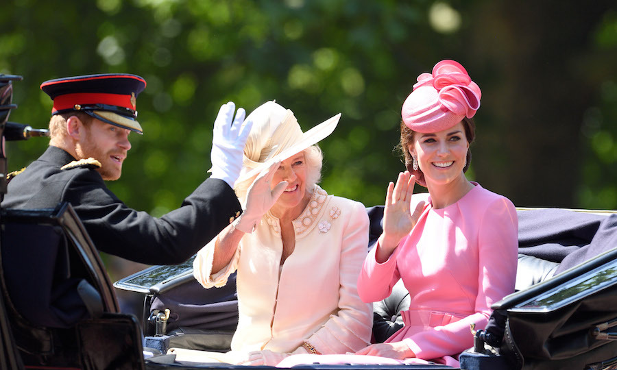 Kate, Prince Harry and the Duchess of Cornwall shared a carriage as they made the trip down The Mall. 