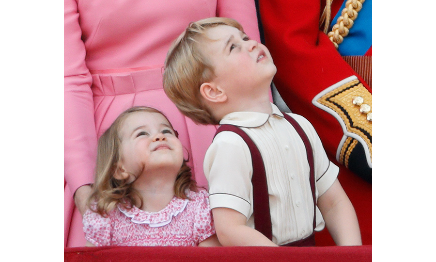 Charlotte watched the RAF flypast with her big brother Prince George. 