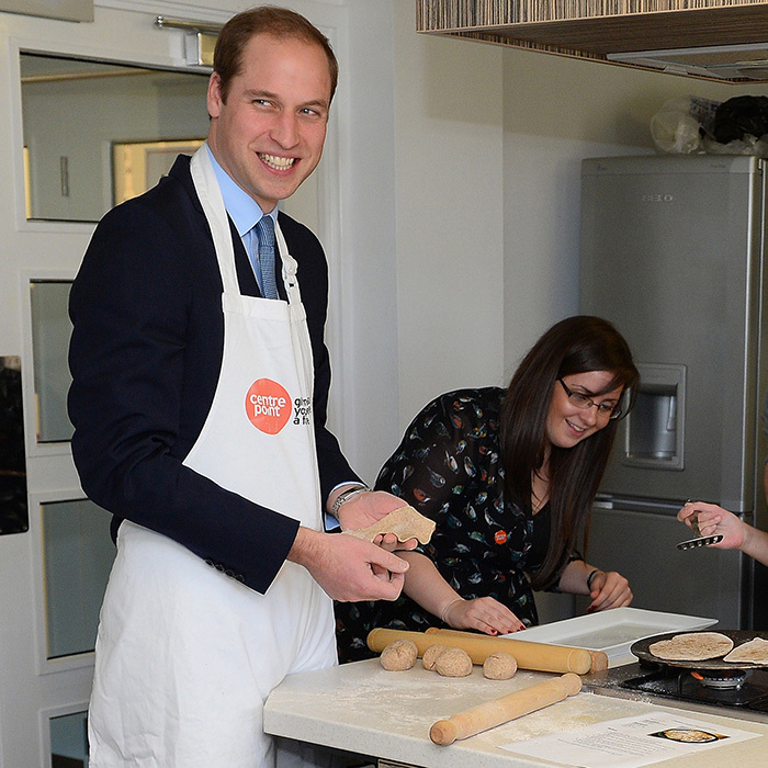 Prince William has joked about his culinary skills in the past, but was willing to give it a try at the Centrepoint support centre in November 2013. 